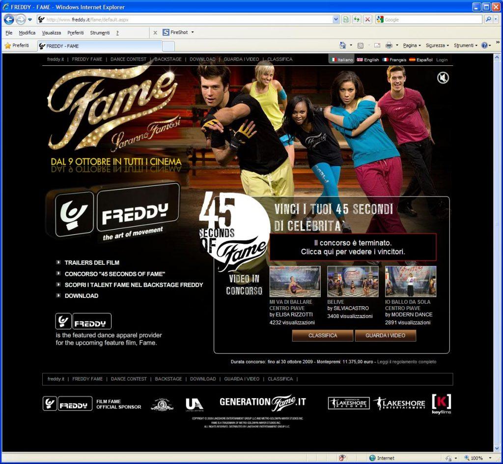 sito internet freddy.it abbigliamento sportivo studio grafico firenze