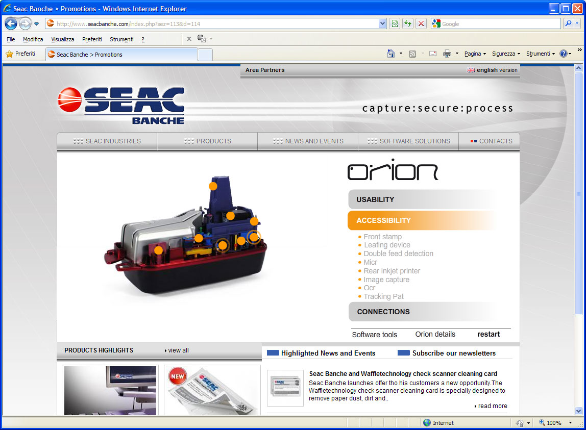 web application check scanner Seac Banche orion